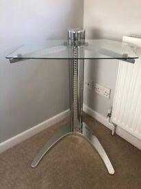 Glass and chrome corner tv stand/cd storage rack