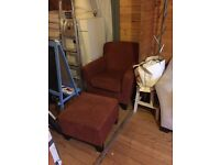 Arm chair with foot stool