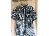black,blue and white kids shirt