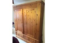 Solid Pine Wardrobe, Tall Chest of Drawers and Bedside Table Set