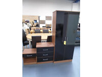 Brand New 3 Piece Bedroom Set - Walnut & High Gloss Black. Also Comes In White And Oak. Can Deliver