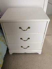 1 white bed side table