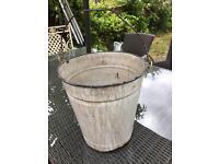 Vintage white and blue enamel bucket