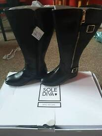 Sole Diva Extra curvy plus knee high boots