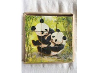 Vintage 9 paper covered, wooden cube panda bear puzzle in packaging base. £4 ovno.