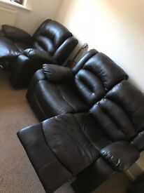 2 seater brown leather sofa & matching recliner chair