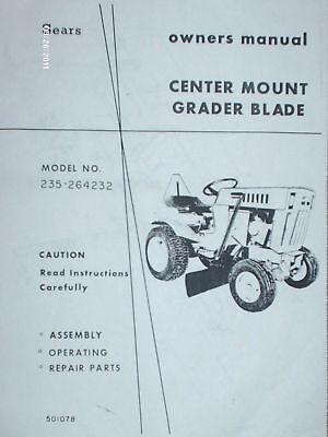 235.264232 Sears Suburban Tractor- Mid Mount Grader Blade Manual On Cd
