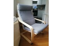 IKEA Poang Armchair and Grey Cover