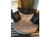 Swivel/snuggle chair and storage footstool