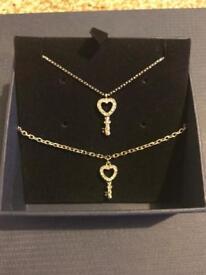 Swarovski heart key Necklace and Bracelet - Excellent condition
