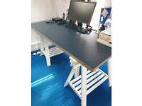 5 x IKEA OFFICE DESKS - LINNMON TABLE TOPS AND FINNVARD TRESTLES WITH SHELVES - Used, VGC
