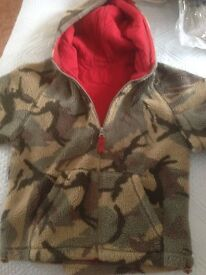 M & S lined fleece camouflage zip up jacket age 7/8 good condition