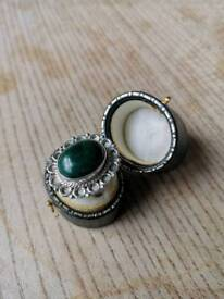 925 Sterling Silver Malachite Gemstone Ring Size N