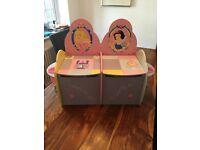 Kids Disney Snow White/Sleeping Beauty wooden storage seat