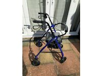 Rollator - R8 Blue Aluminium Rollator with Padded Seat/Underseat Bag - lightweight and portable