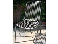 Grey metal garden chairs (4)