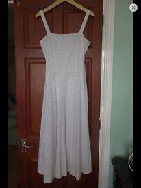 Lauren Ralph Lauren White Embroidered Summer Dress. UK 10 - 12.