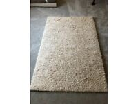 Large Deep Wool Pile Rug in neutral colour.
