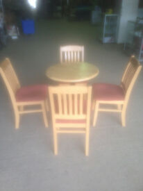 Round Beech Coloured Cafe/Bistro Table (Chairs not Included)