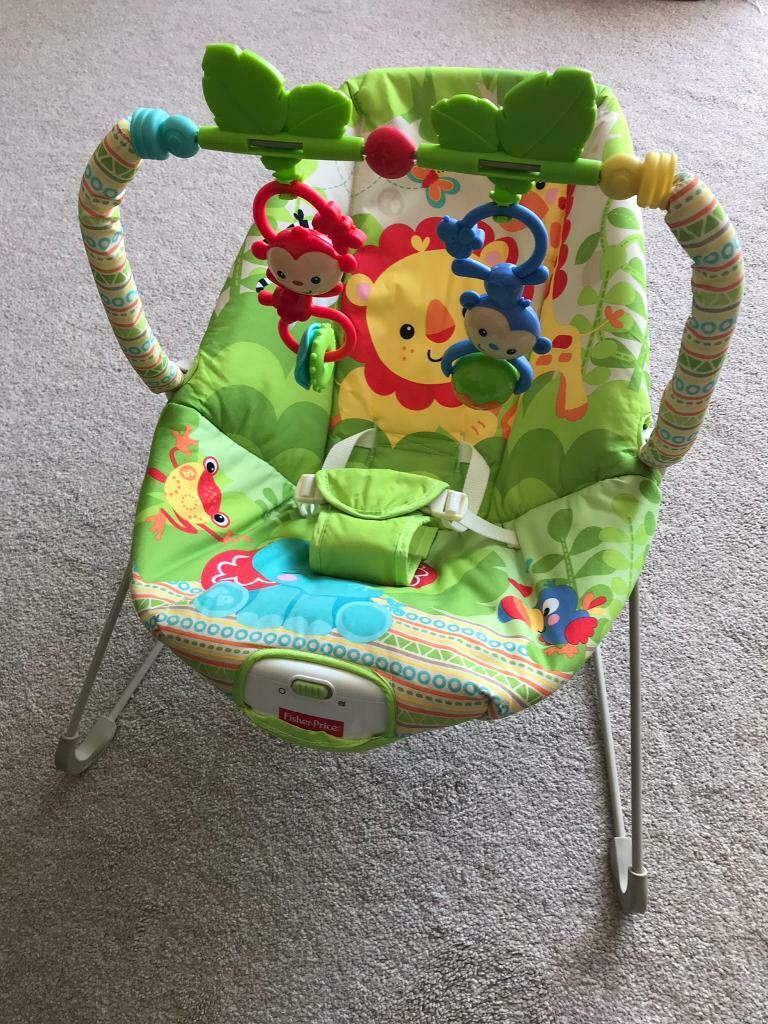 Baby Fisher-price Rainforest New-born Baby Bouncer/rocker/chair With Vibration+toybar Baby Gear
