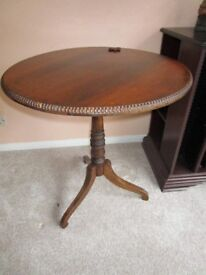 Antique Round Edwardian Rosewood Table Needs Small Repair