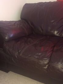 Brown 2 Seater Leather Couch