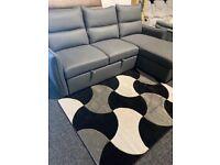 New quality grey fabric corner sofa bed + storage
