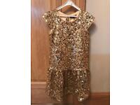 Girls age 7-8 Marks and Spencer Autograph Gold Sequin Party Dress