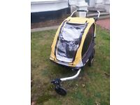"Burley Cub Bike Trailer for Two Kids or Dog - 20"" wheels. Rain Proof with stroller attachment."