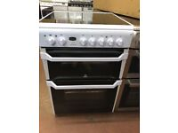 60CM WHITE DOUBLE OVEN INDESIT ELECTRIC COOKER