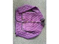 Purple lightly quilted Barbour jacket Size 8