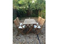 Folding garden table and 4 chairs