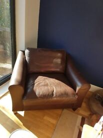 Laura Ashely 2 seater leather armchair