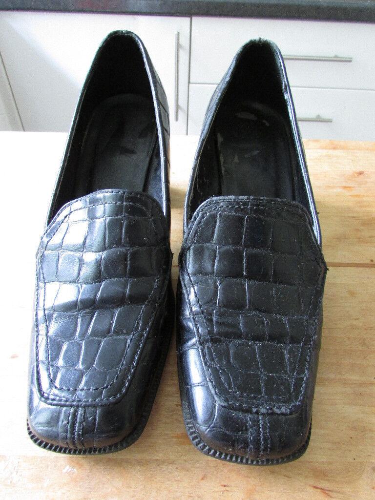 Black mock-croc leather shoes