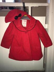 9-12 months Ladybird coat with beret