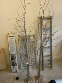 Matching pair of silver LED trees