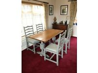 DINING TABLE AND FOUR CHAIRS. NATURAL SOLID OAK AND GREY PAINTED. SOME WEAR OTHERWISE EXCELLENT CON.