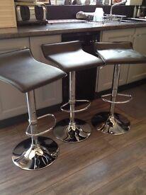 Bar stools - Set of 3, Black and chrome
