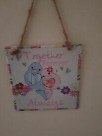 Love bird sign plaque