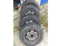Ford Fiesta wheel rims with poor tyres.