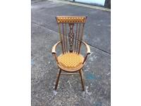 Vintage wood chair with beautiful pattern