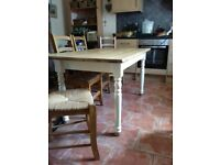 Country kitchen pine dining table and 6 chairs