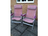 Two lightweight high backed camping chairs