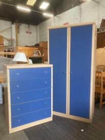 Modern blue door wardrobe and chest of drawers