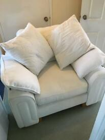 DFS arm chair and matching footstool