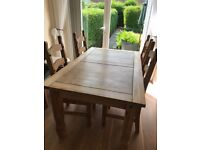 Natural Chunky wooden dining table and 4 chairs