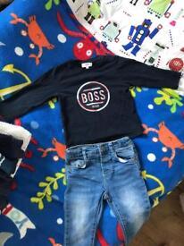 Hugo boss long sleeve t shirt 18months and Zara skinny jeans 12-18 months