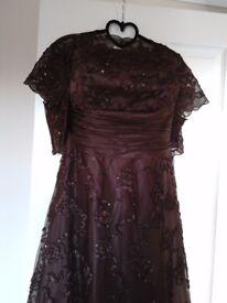 Monsoon Bethan Brown Dress with matching shrug/bolero Size 16