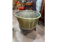 Fabulous huge antique 19th century copper pot on a wooden stand