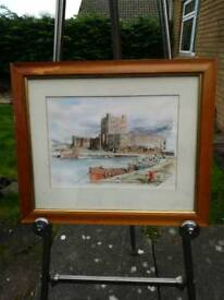 Genuine water colour signed framed castle boata